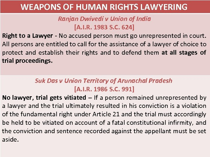 WEAPONS OF HUMAN RIGHTS LAWYERING Ranjan Dwivedi v Union of India [A. I. R.