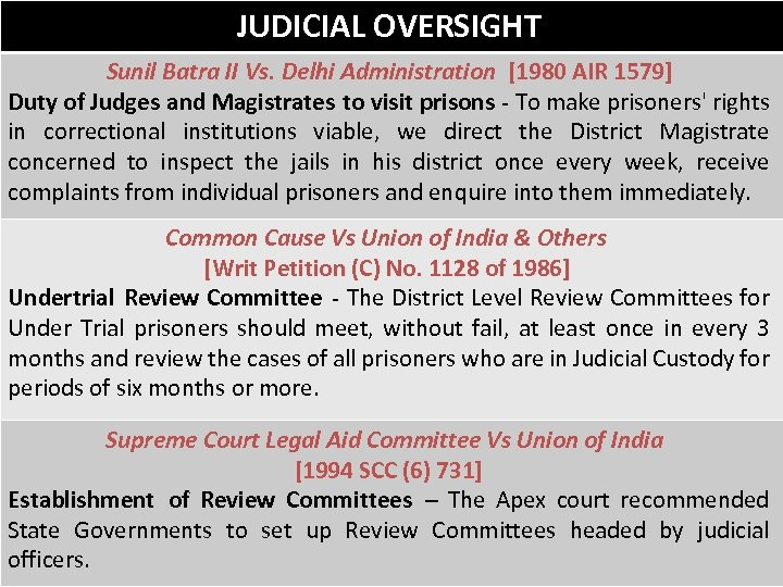 JUDICIAL OVERSIGHT Sunil Batra II Vs. Delhi Administration [1980 AIR 1579] Duty of Judges