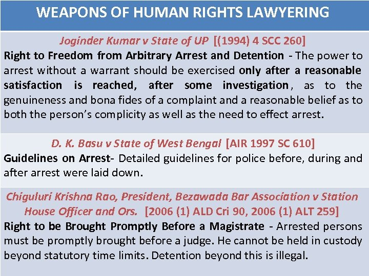 WEAPONS OF HUMAN RIGHTS LAWYERING Joginder Kumar v State of UP [(1994) 4 SCC