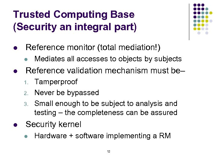 Trusted Computing Base (Security an integral part) l Reference monitor (total mediation!) l l