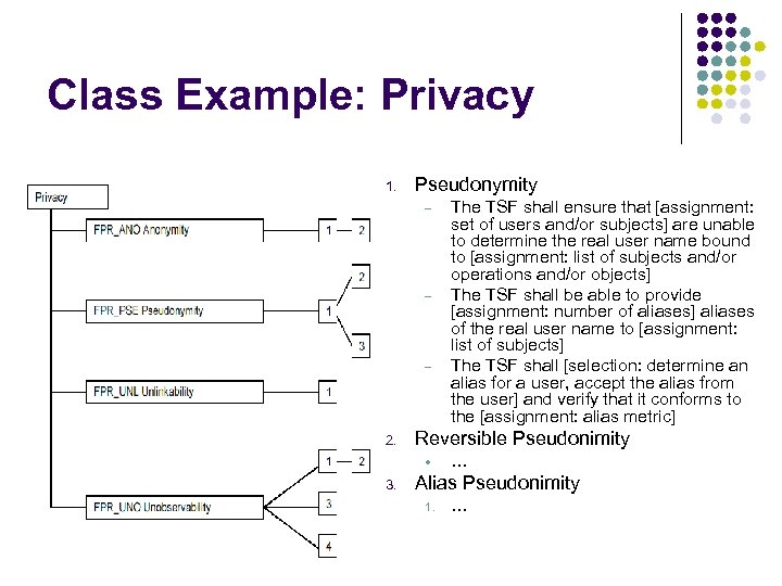 Class Example: Privacy 1. Pseudonymity – – – 2. Reversible Pseudonimity • 3. The