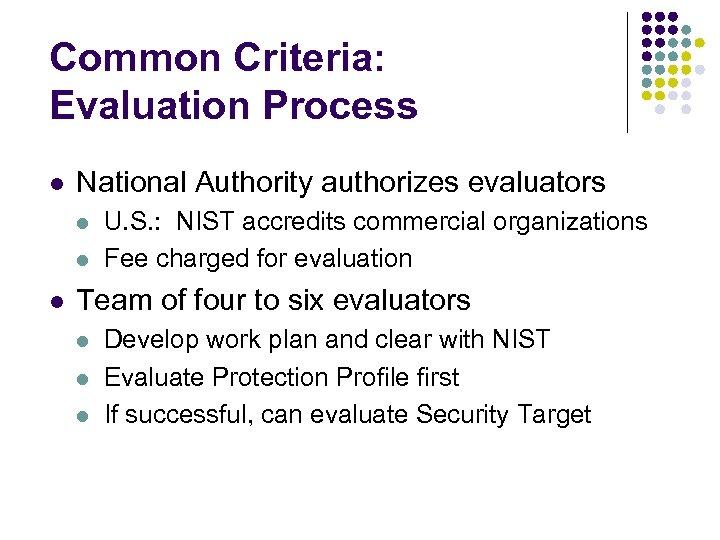 Common Criteria: Evaluation Process l National Authority authorizes evaluators l l l U. S.