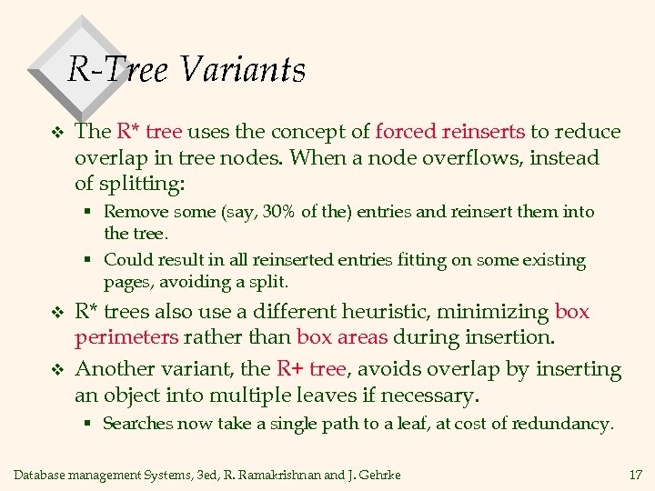R-Tree Variants v The R* tree uses the concept of forced reinserts to reduce