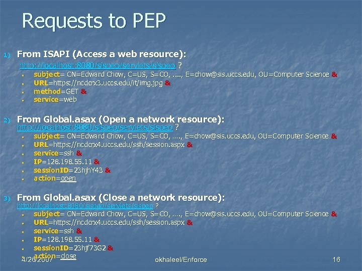 Requests to PEP 1) From ISAPI (Access a web resource): http: //localhost: 8080/sispep/servlets/sispep ?