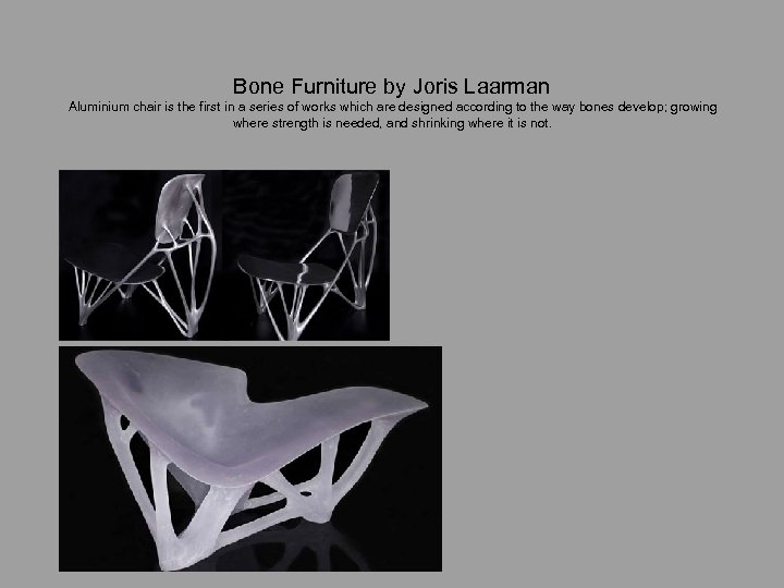 Bone Furniture by Joris Laarman Aluminium chair is the first in a series of