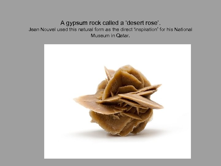 A gypsum rock called a 'desert rose'. Jean Nouvel used this natural form as
