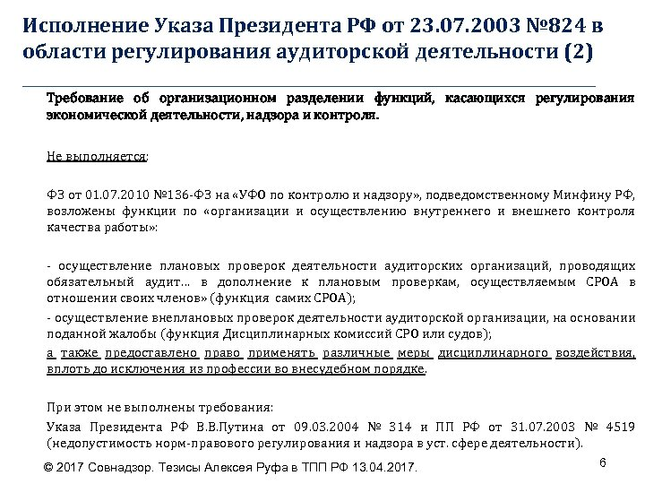 Исполнение Указа Президента РФ от 23. 07. 2003 № 824 в области регулирования аудиторской