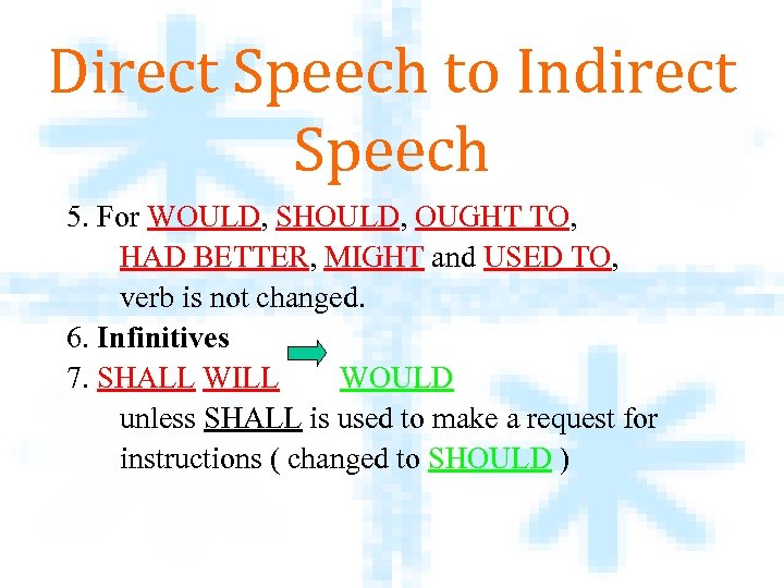 Direct Speech to Indirect Speech 5. For WOULD, SHOULD, OUGHT TO, HAD BETTER, MIGHT