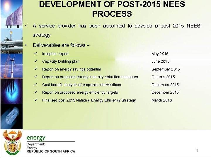 DEVELOPMENT OF POST-2015 NEES PROCESS • A service provider has been appointed to develop