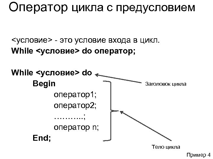 Оператор цикла с предусловием <условие> - это условие входа в цикл. While <условие> do