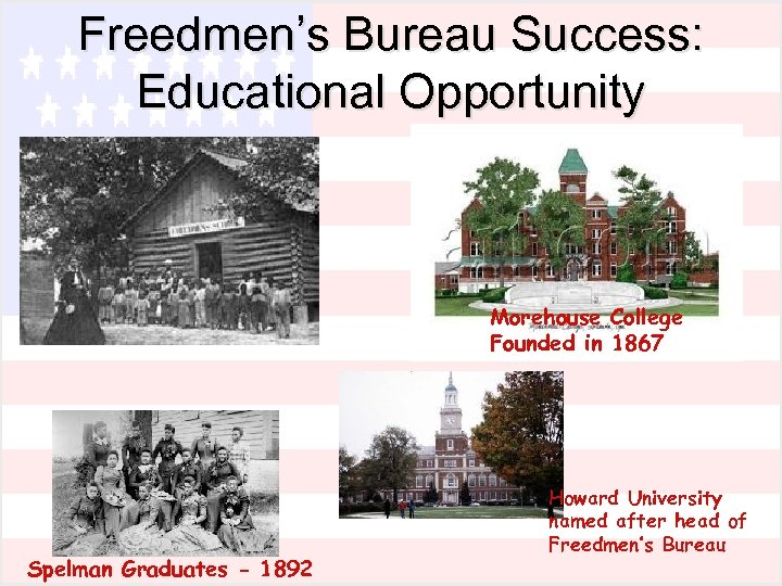 Freedmen's Bureau Success: Educational Opportunity Morehouse College Founded in 1867 Spelman Graduates - 1892