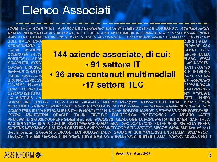 Elenco Associati 3 COM ITALIA ACER ITALY ADFOR ADS AUTOMATED DATA SYSTEMS AGENFOR LOMBARDIA