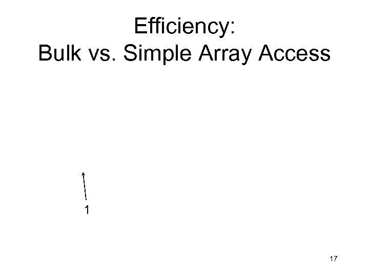 Efficiency: Bulk vs. Simple Array Access 1 17