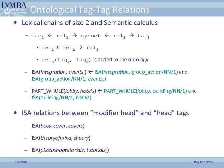 Ontological Tag-Tag Relations • Lexical chains of size 2 and Semantic calculus – tag