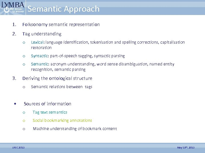 Semantic Approach 1. Folksonomy semantic representation 2. Tag understanding o o Syntactic: part-of-speech tagging,