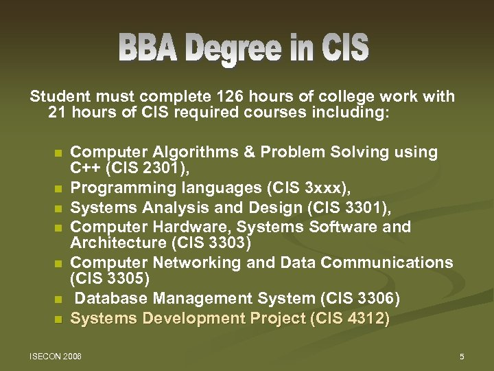 Student must complete 126 hours of college work with 21 hours of CIS required