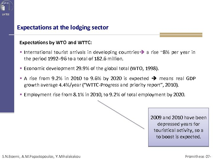 LHTEE Expectations at the lodging sector Expectations by WTO and WTTC: § International tourist