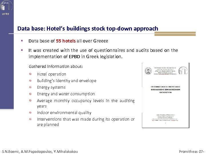 LHTEE Data base: Hotel's buildings stock top-down approach § Data base of 55 hotels