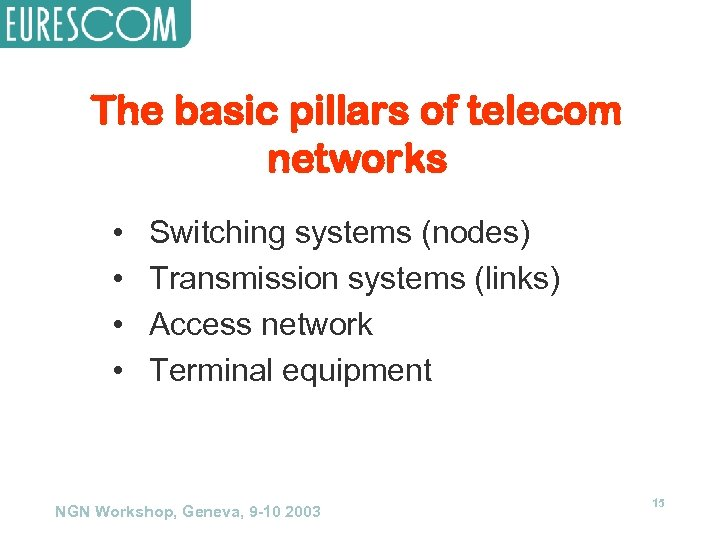The basic pillars of telecom networks • • Switching systems (nodes) Transmission systems (links)