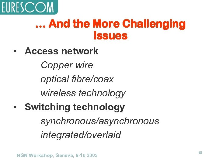 … And the More Challenging Issues • Access network Copper wire optical fibre/coax wireless