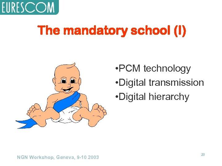 The mandatory school (I) • PCM technology • Digital transmission • Digital hierarchy NGN