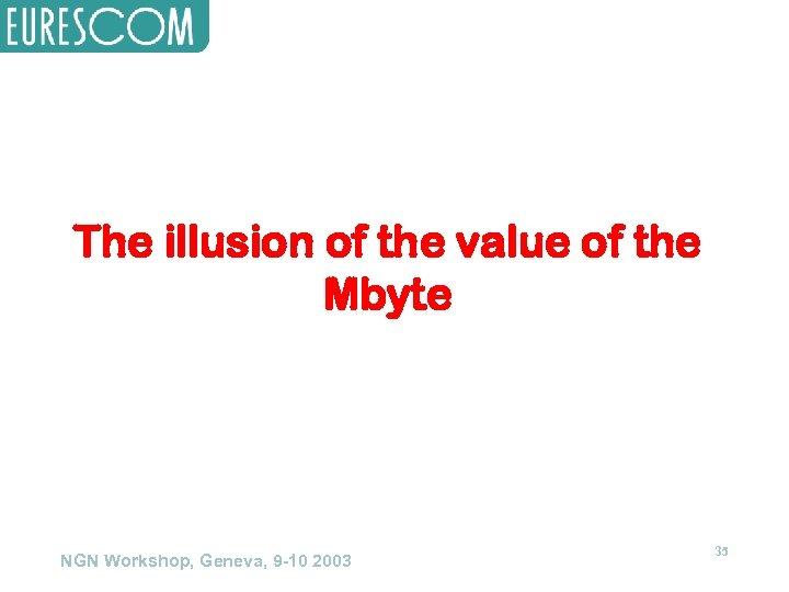 The illusion of the value of the Mbyte NGN Workshop, Geneva, 9 -10 2003