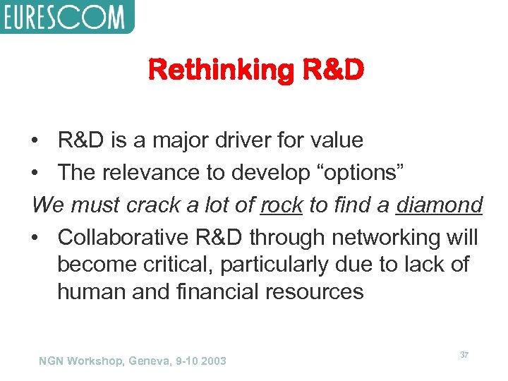 Rethinking R&D • R&D is a major driver for value • The relevance to