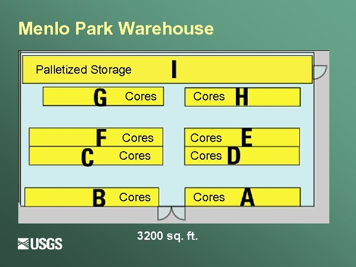 Menlo Park Warehouse Palletized Storage Cores Cores 3200 sq. ft.