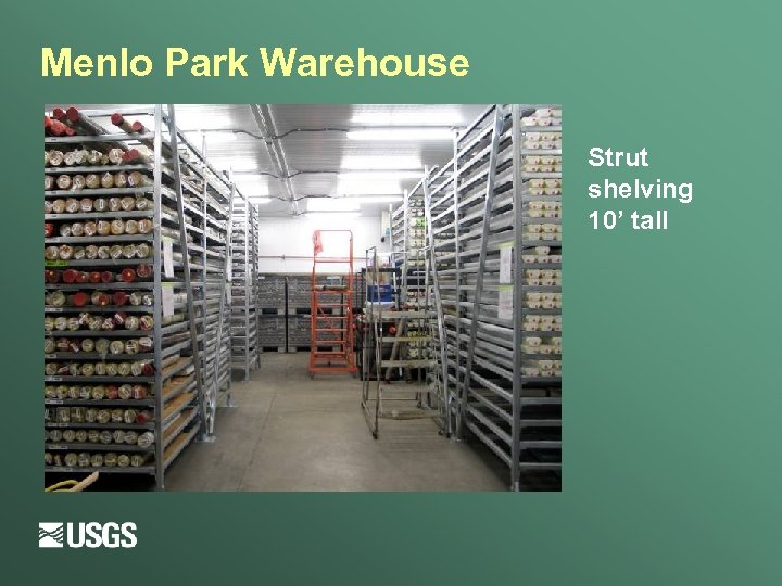 Menlo Park Warehouse Strut shelving 10' tall