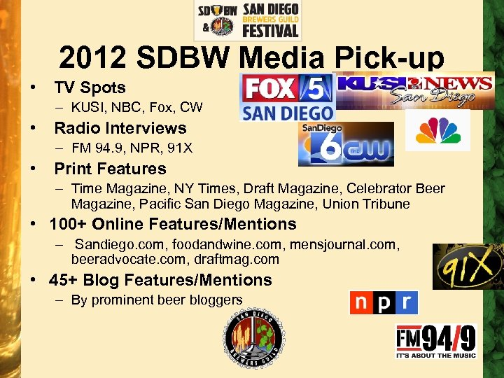 2012 SDBW Media Pick-up • TV Spots – KUSI, NBC, Fox, CW • Radio