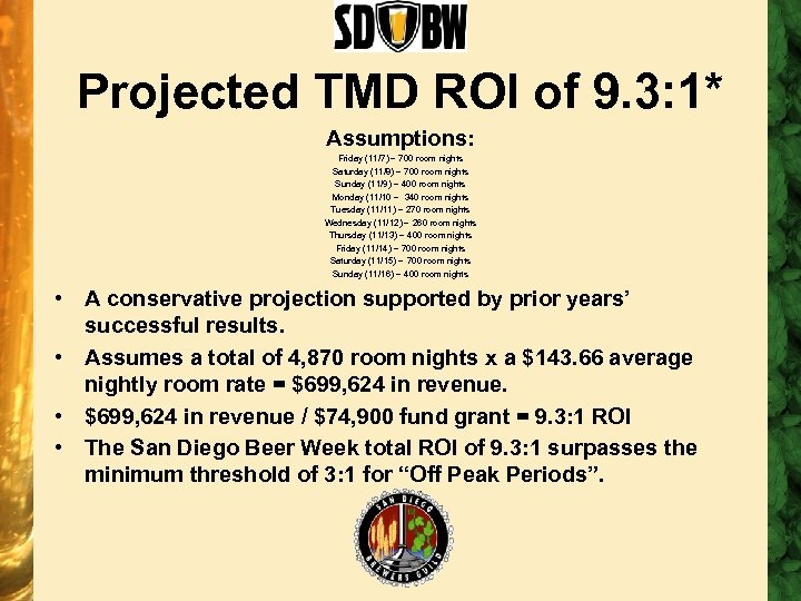 Projected TMD ROI of 9. 3: 1* Assumptions: Friday (11/7) – 700 room nights