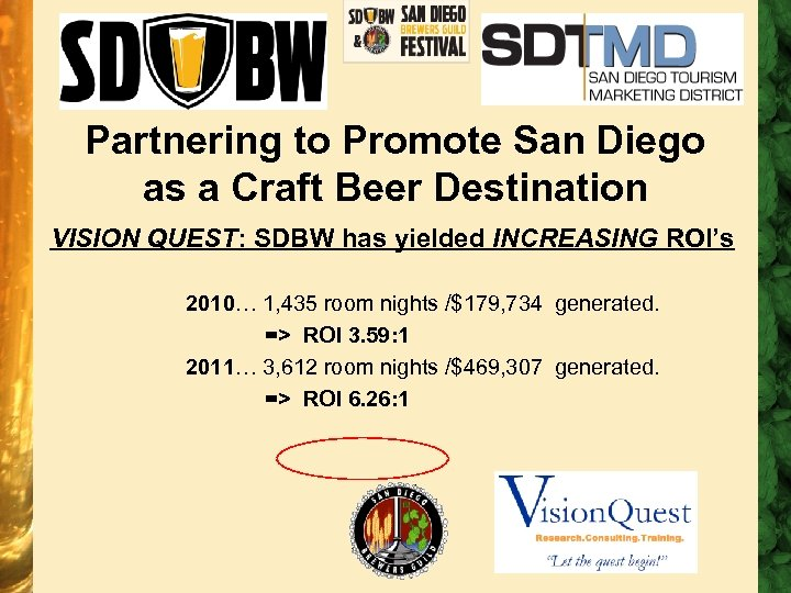 Partnering to Promote San Diego as a Craft Beer Destination VISION QUEST: SDBW has