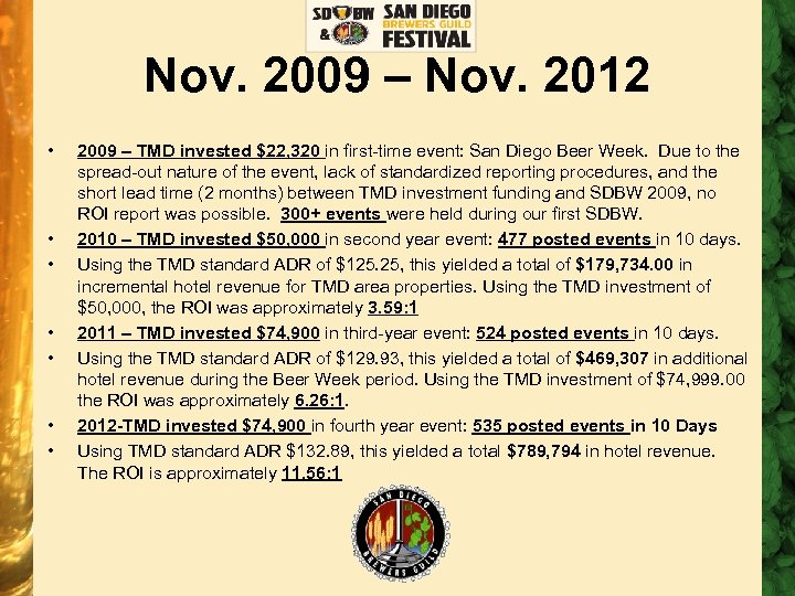 Nov. 2009 – Nov. 2012 • • 2009 – TMD invested $22, 320 in