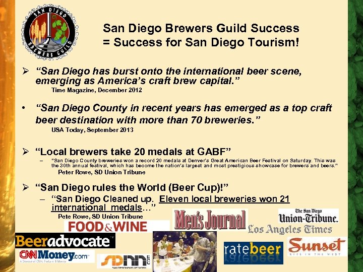 "San Diego Brewers Guild Success = Success for San Diego Tourism! Ø ""San Diego"
