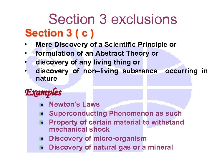 Section 3 exclusions Section 3 ( c ) • • Mere Discovery of a