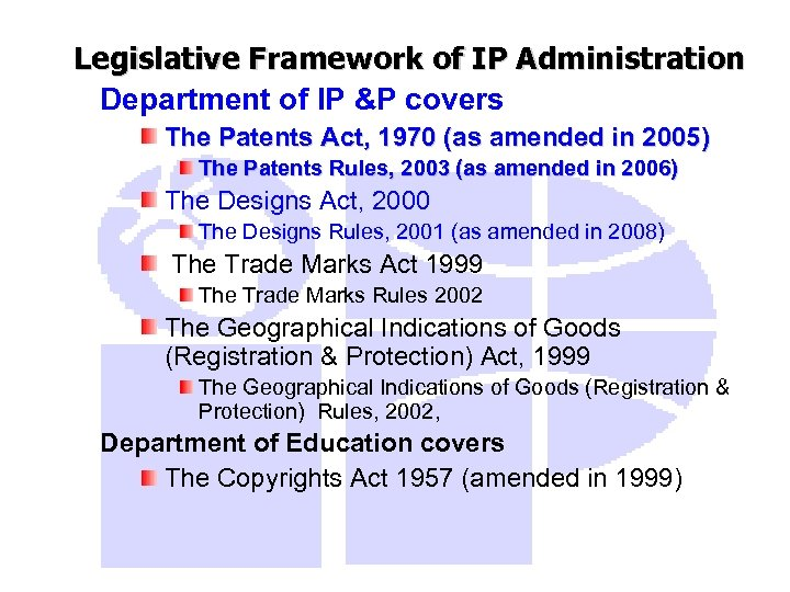 Legislative Framework of IP Administration Department of IP &P covers The Patents Act, 1970