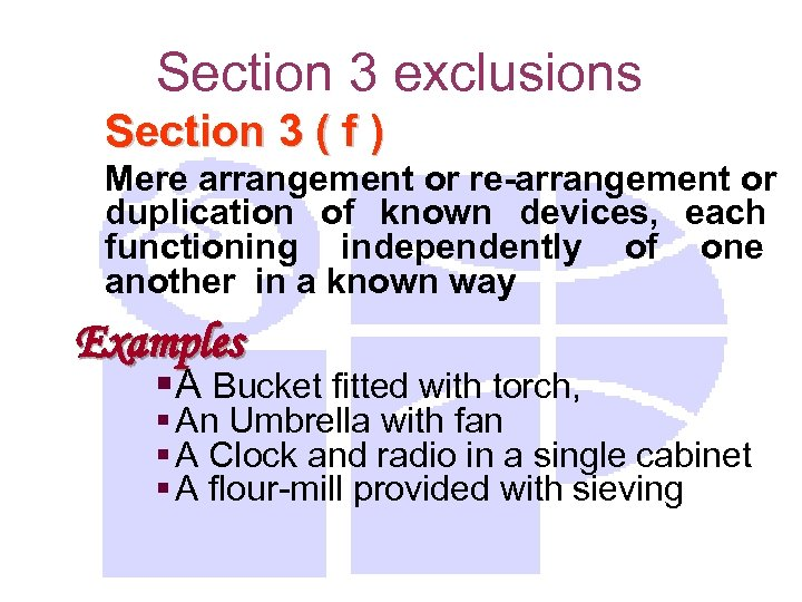 Section 3 exclusions Section 3 ( f ) Mere arrangement or re-arrangement or duplication