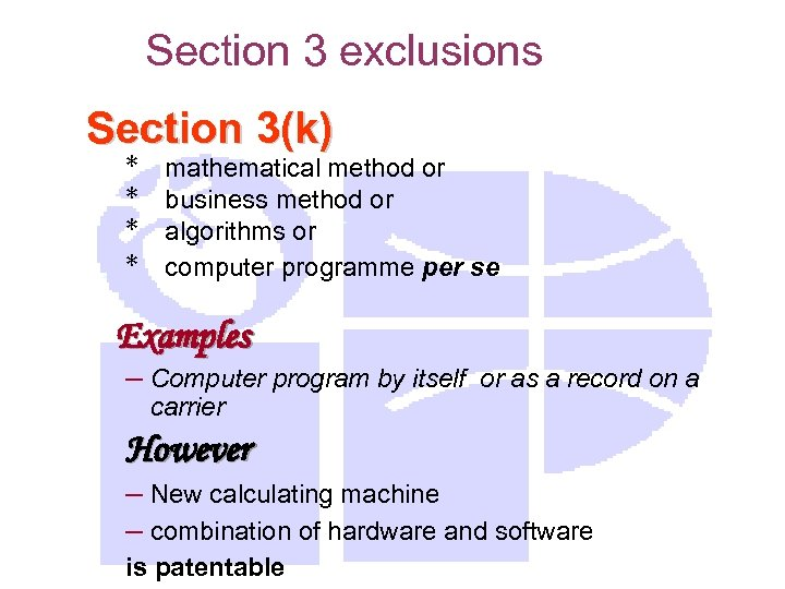 Section 3 exclusions Section 3(k) * * mathematical method or business method or algorithms