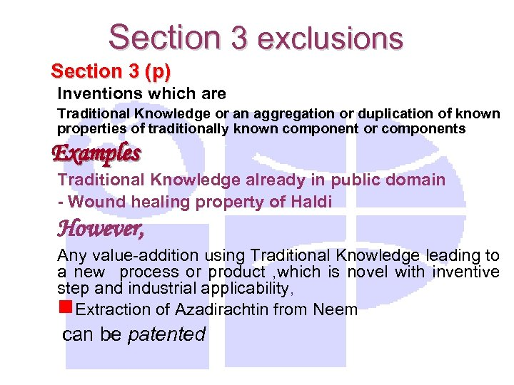 Section 3 exclusions Section 3 (p) Inventions which are Traditional Knowledge or an aggregation