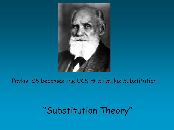"Pavlov: CS becomes the UCS Stimulus Substitution ""Substitution Theory"""