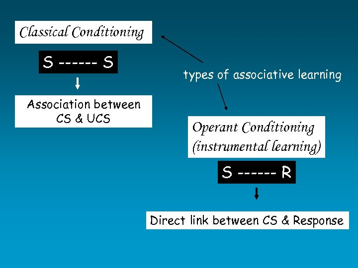 Classical Conditioning S ------ S Association between CS & UCS types of associative learning
