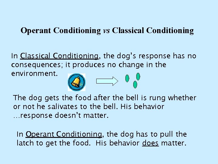Operant Conditioning vs Classical Conditioning In Classical Conditioning, the dog's response has no consequences;