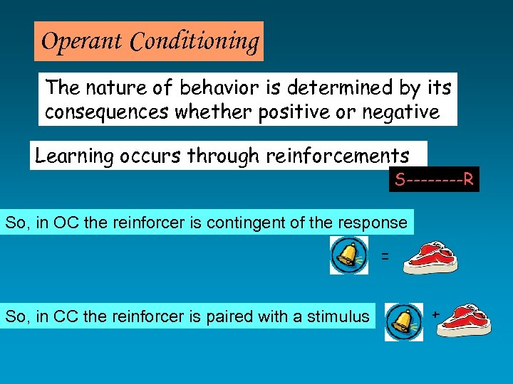 Operant Conditioning The nature of behavior is determined by its consequences whether positive or