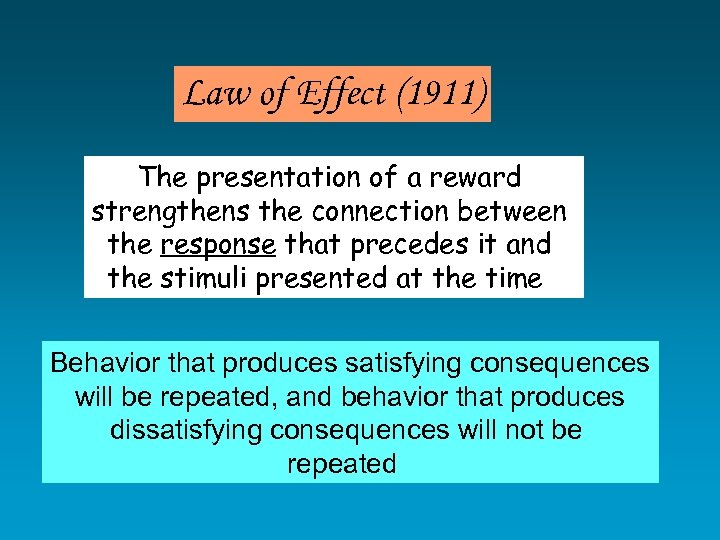 Law of Effect (1911) The presentation of a reward strengthens the connection between the