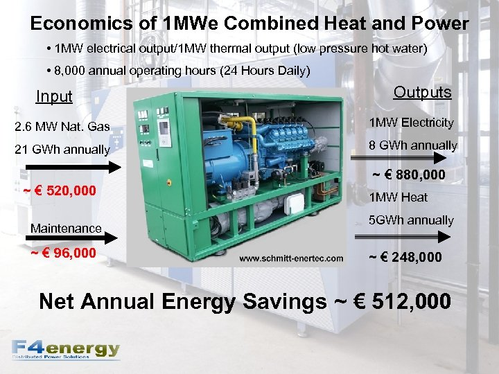 Economics of 1 MWe Combined Heat and Power • 1 MW electrical output/1 MW
