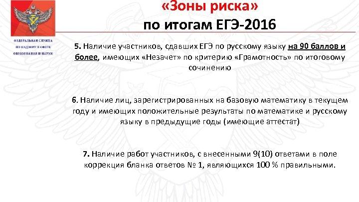 «Зоны риска» по итогам ЕГЭ-2016 5. Наличие участников, сдавших ЕГЭ по русскому языку