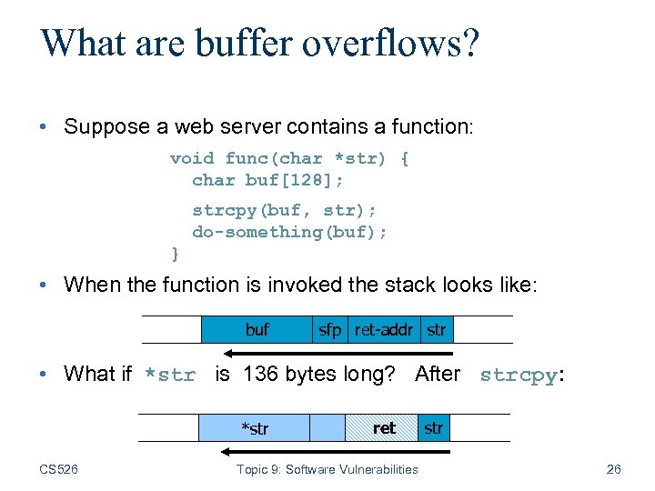 What are buffer overflows? • Suppose a web server contains a function: void func(char