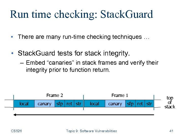 Run time checking: Stack. Guard • There are many run-time checking techniques … •