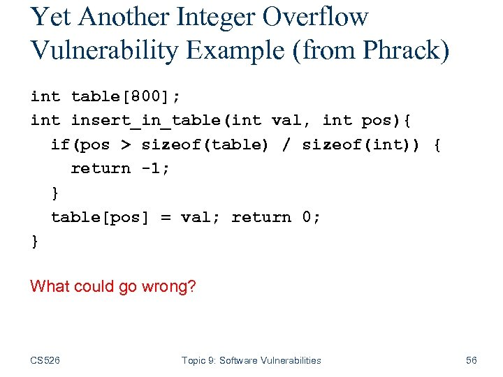 Yet Another Integer Overflow Vulnerability Example (from Phrack) int table[800]; int insert_in_table(int val, int
