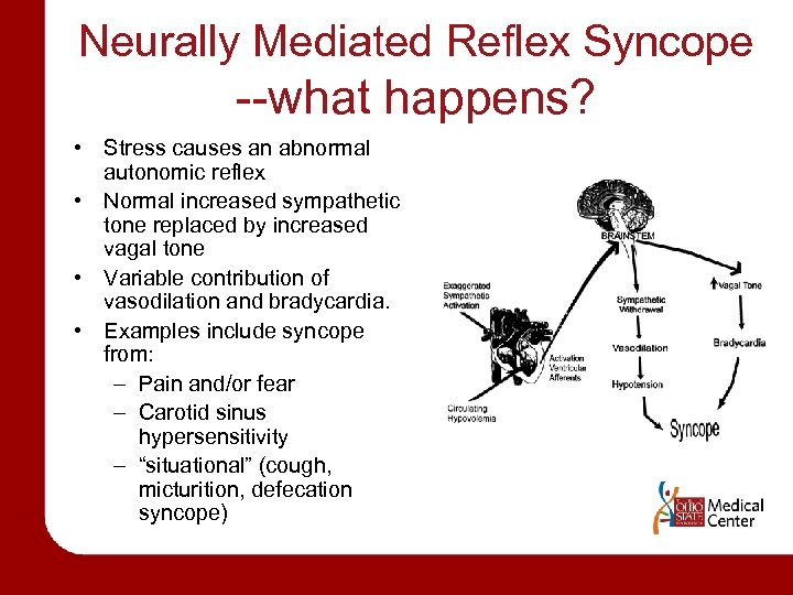Neurally Mediated Reflex Syncope --what happens? • Stress causes an abnormal autonomic reflex •